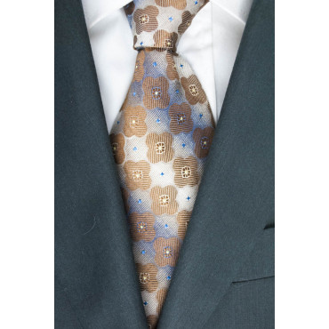 Tie Beige Small Geometric Designs Brown - Basile - 100% Pure Silk