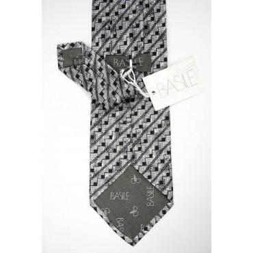 Cravatta Grigio Chiaro Piccoli Disegni Geometrici Nero - Basile - 100% Pura Seta