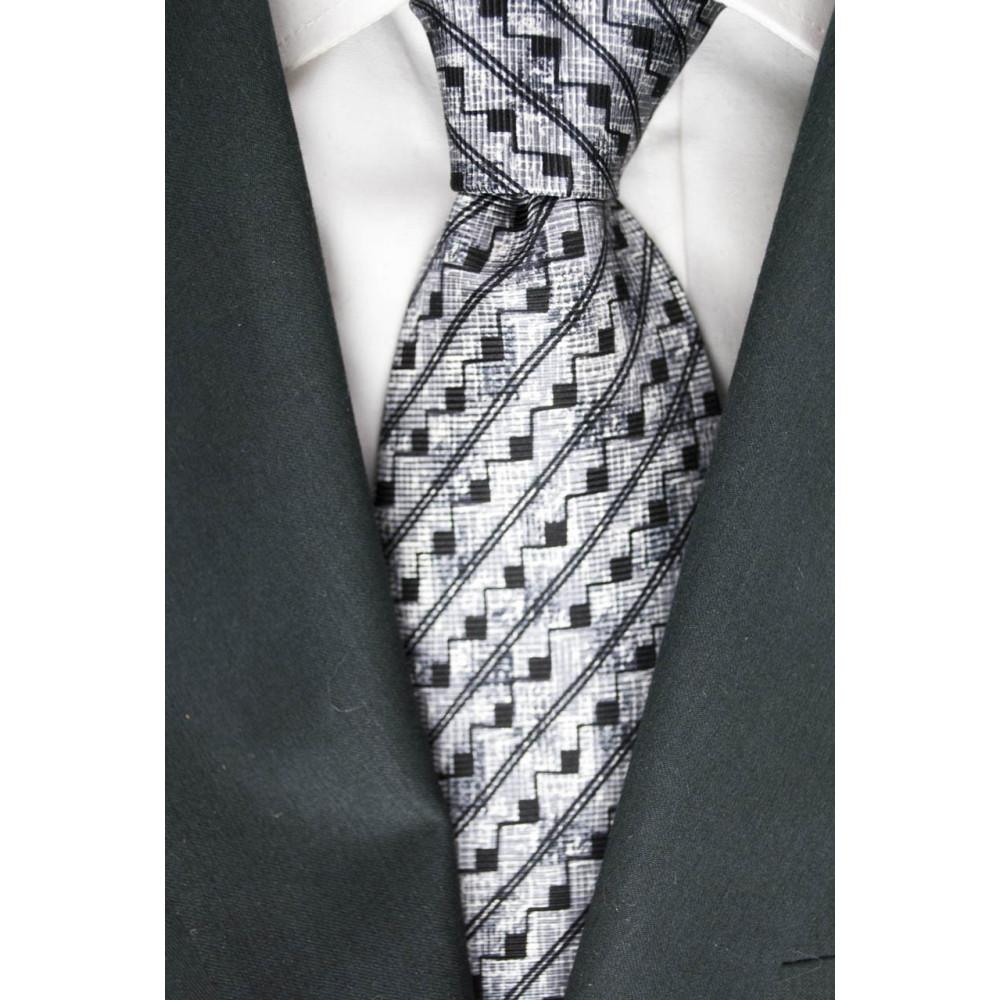 Tie Light Grey Small Geometric Designs Black - Basile - 100% Pure Silk