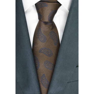 Brown Tie Designs Blue Cashmere - Basile - 100% Pure Silk