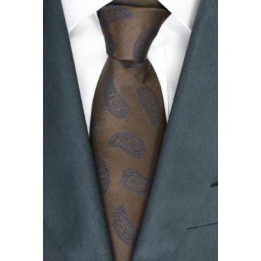 Cravatta Marrone Disegni Cachemire Blu - Basile - 100% Pura Seta