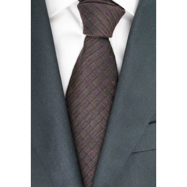 Tie Brown Geometric Designs Regimental - Basile - 100% Pure Silk