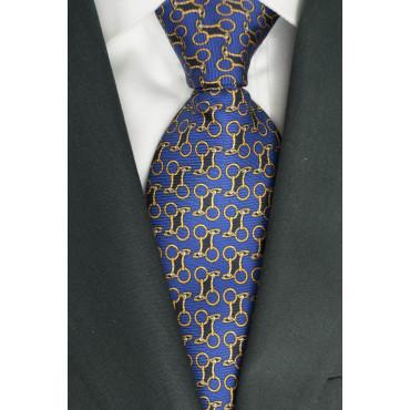 Cravatta Blu Piccoli Disegni Lamborghini - 1018 - 100% Pura Seta