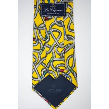 Tie Les Copains Yellow Fancy Carabiners - 100% Pure Silk