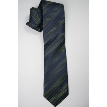 Tie Blue Regimental Plug-Iridescent - 100% Pure Silk - Made in Italy