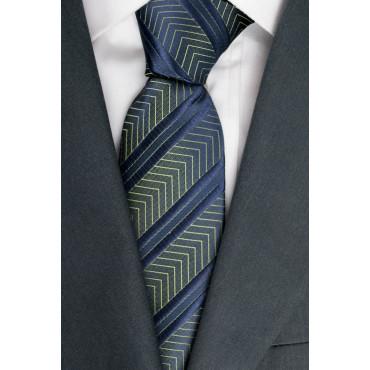 Corbata Azul Regimiento Plug-Iridiscente - 100% Pura Seda - Made in Italy