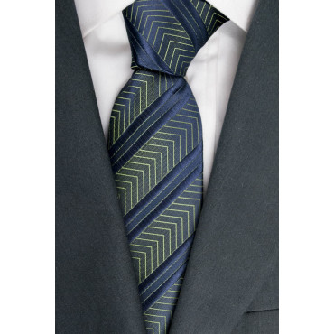 Tie Blue Regimental Plug-Iridescent - 100% Pure Silk - Made in Italy