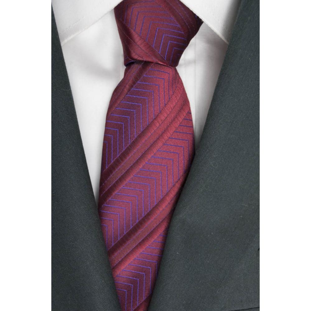 Cravatta Rossa Regimental a Spina Cangiante - 100% Pura Seta - Made in Italy