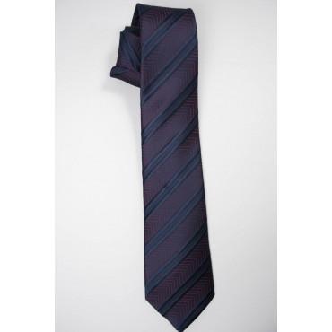 Cravatta Blu Regimental Rosso a Spina Cangiante - 100% Pura Seta - Made in Italy