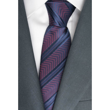 Tie Blue Regimental Red Plug-Iridescent - 100% Pure Silk - Made in Italy