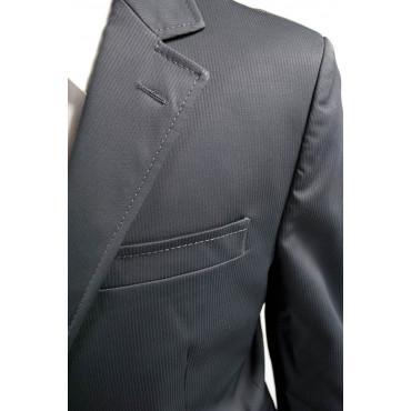 Abito Uomo Elegante 48 Blu Scuro Righe Opaco 2Bottoni Cerimonia 34505