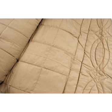 Quilted bedspread Double Pure Silk Light Brown 270x270 - channeled and quilted 2 Squares