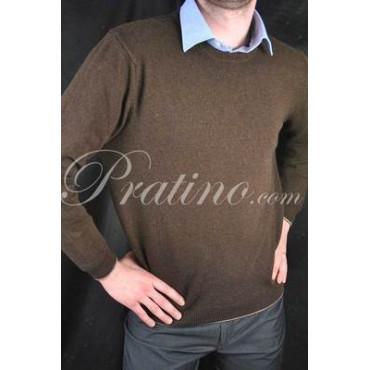 Pullover Girocollo Uomo 3Fili Misto Cachemire Marrone 54 XXL -  Maglie e Pullover Cachemire