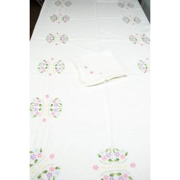 Tovaglia Ricamo a Mano Puro Lino - Intaglio e Fiori Colorati 06 - 270x180 + 12 tovaglioli