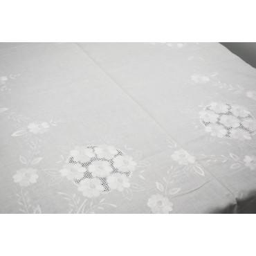 Tovaglia Ricamo a Mano Puro Lino - Grandi Fiori Bianco 18 - 260x180 + 12 tovaglioli