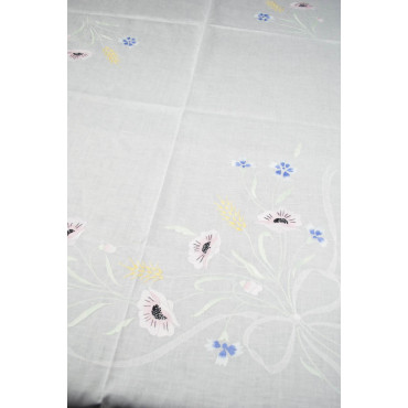 Tovaglia Ricamo a Mano Puro Lino - Grandi Fiori Colorati 19 - 260x170 + 12 tovaglioli