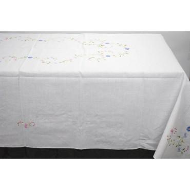 Tovaglia Ricamo a Mano Puro Lino - Fiori Colorati 20 - 260x170 + 12 tovaglioli