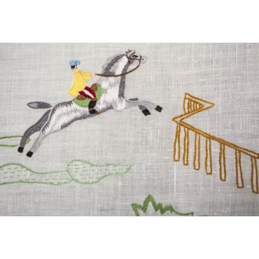 Tovaglia Ricamo a Mano Puro Lino - Cavalli 23 - 270x180 + 12 tovaglioli