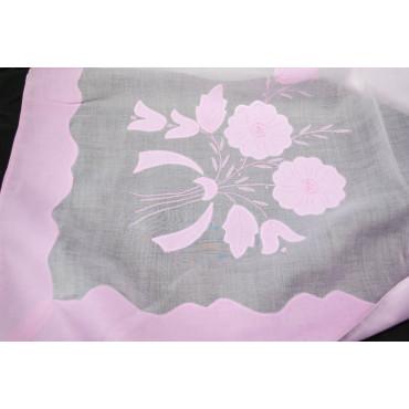 Tovaglia Ricamo a Mano Organza di Lino - Fiori Rosa 26 - 340x190 + 12 tovaglioli