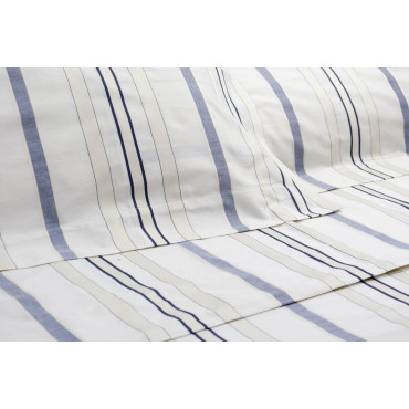 Sheets Double bed King size Ivory Stripes Blue Gingham 270x290 Under the Plan 7401