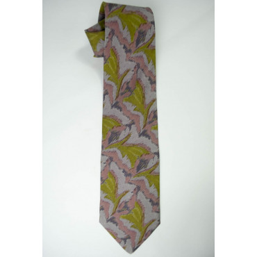 Tie Camouflage Green Pink Grey - 100% Pure Silk - Made in Italy