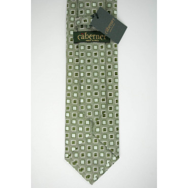 Green tie with Small designs in Dark Green - 100% Pure Silk - Made in Italy
