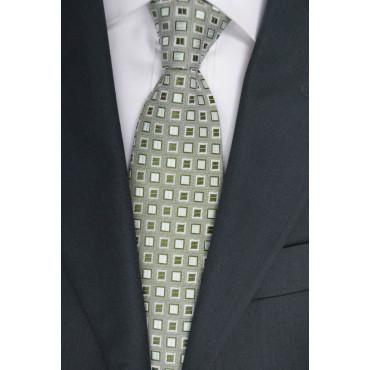 Corbata verde con Pequeños diseños en Verde Oscuro - 100% Pura Seda - Made in Italy