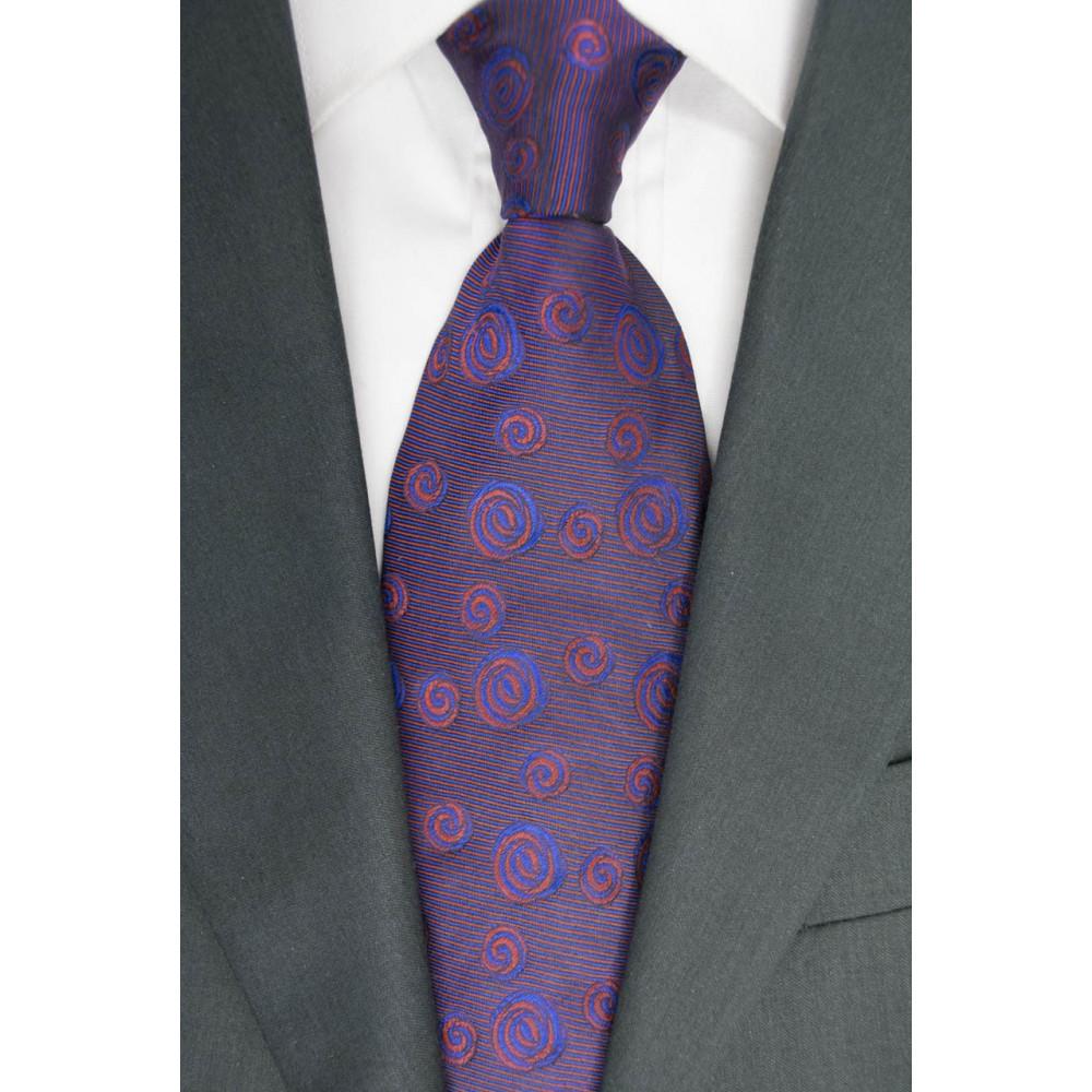 Cravatta Larga 9,5 Disegni Blu e Rosso - 100% Pura Seta - Made in Italy