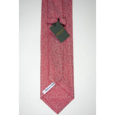 Cravatta Rossa Texture Avorio - 100% Pura Seta - Made in Italy