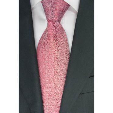 Corbata roja, la Textura de Marfil - 100% Pura Seda - Made in Italy