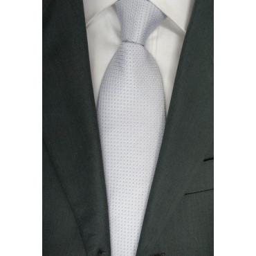 Cravatta Grigio Chiaro Piccoli Pois Viola - 100% Pura Seta - Made in Italy