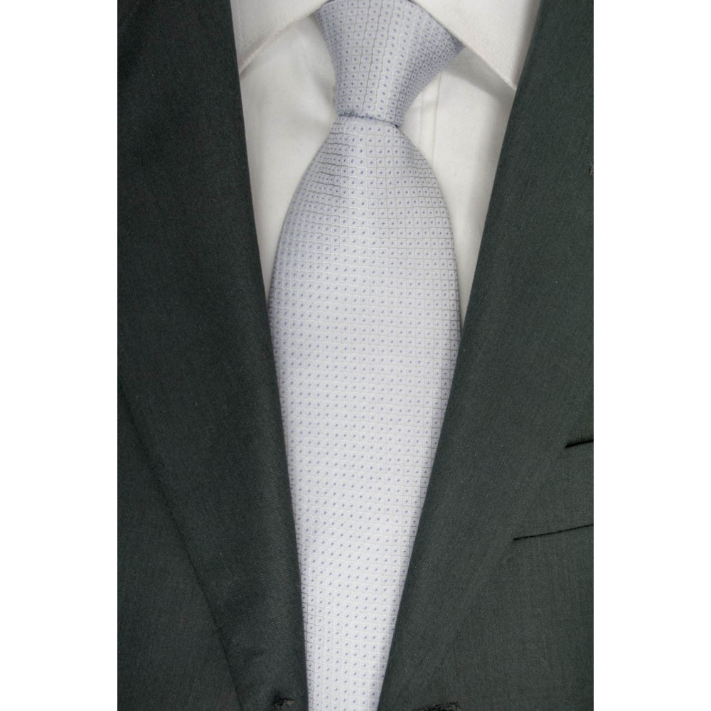 Tie Light Gray with Small Purple polka Dots - 100% Silk - Made in Italy