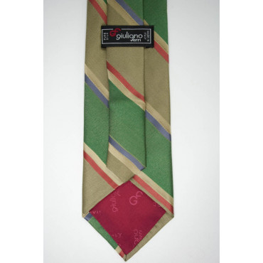 Cravatta Regimental Verde - 100% Pura Seta - Made in Italy