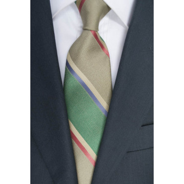 Regimental tie Green - 100% Pure Silk - Made in Italy