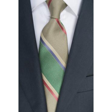 Regimiento de corbata Verde - 100% Pura Seda - Made in Italy