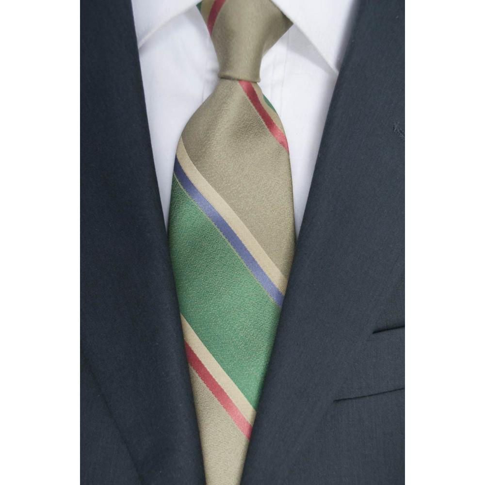 Krawatte Regimental Grün - 100% Reine Seide - Made in Italy