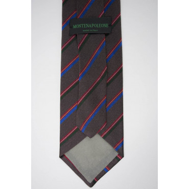 Cravatta Marrine Regimental Rosso Verde Azzurro - 100% Pura Seta - Made in Italy