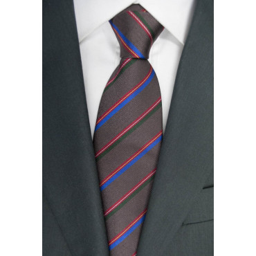 Tie Marrine Regimental Red Green Blue - 100% Pure Silk - Made in Italy