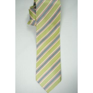 Cravatta Verde Regimental Multicolore -100% Pura Seta - Made in Italy