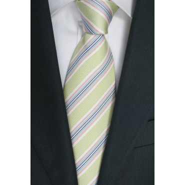 Green tie Regimental Multicolor -100% Pure Silk - Made in Italy