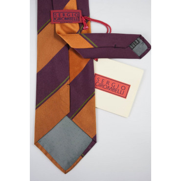 Tie Burgundy Regimental Orange - 100% Pure Silk - Made in Italy