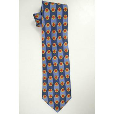 Cravatta Blu Azzurro Pois Rosso - Les Copains 100% Pura Seta - Made in Italy