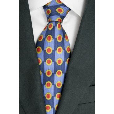Blue tie Blue polka Dots - Red Les Copains 100% Pure Silk - Made in Italy