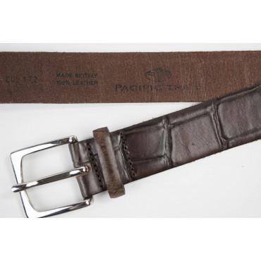 Cintura uomo Marrone in pelle stampa coccodrillo lunga 80 cm