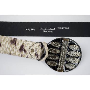 Cintura Avorio stampato pitone lunga 105 cm fibbia medaglione laccato con brillantini - taglie forti
