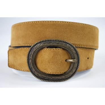 Cintura Marrone in pelle scamosciata lunga 105 cm fibbia dorata - taglie forti