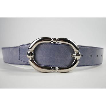 Cintura Viola Glicine in cuoio lunga 85 cm fibbia cromata