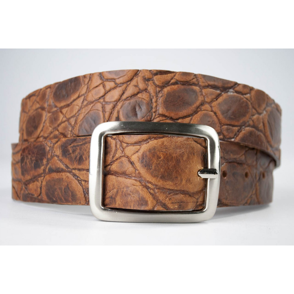 Cintura Marrone cuoio stampato coccodrillo lunga 120 cm  - taglie forti