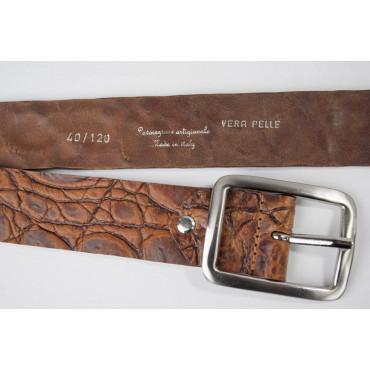 Cintura Marrone cuoio stampato coccodrillo lunga 110 cm  - taglie forti