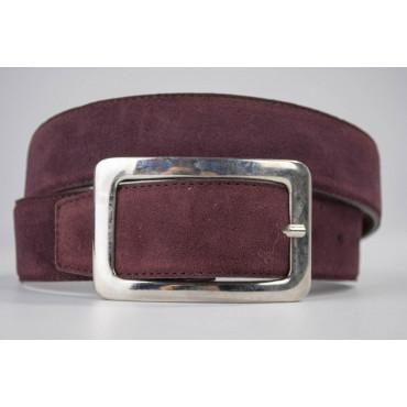 Cintura Bordeaux in pelle scamosciata lunga 110 cm fibbia cromata - taglie forti